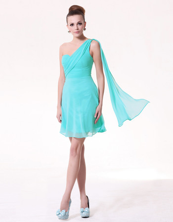 Trendy A-Line One Shoulder Short Chiffon Bridesmaid Dress for Maid of honour