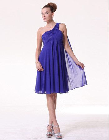 Amazing Empire One Shoulder Short Blue Chiffon Bridesmaid Dress for Maid of honour