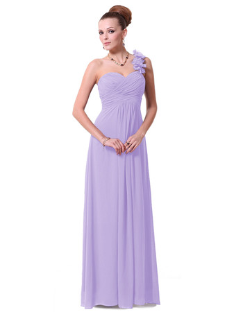 Elegant Designer One Shoulder Floor Length Chiffon Bridesmaid Dress for Maid of honour
