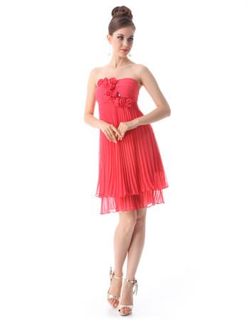 Inexpensive Beautiful Empire Waist Strapless Short Chiffon Bridesmaid Dress