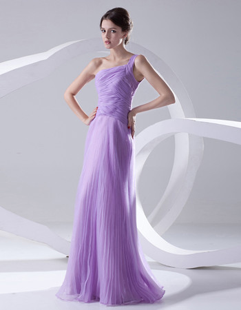 Designer A-Line One Shoulder Floor Length Chiffon Evening Prom Dress