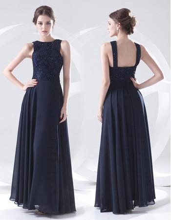 Elegant Sheath Floor Length Blue Chiffon Evening Prom Dress for Women