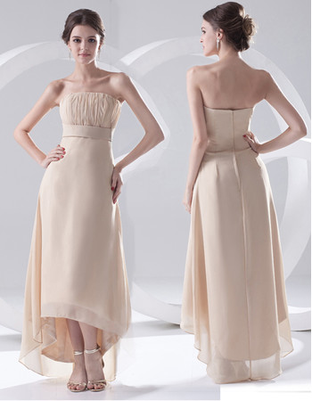 Beautiful Sheath Strapless High Low Chiffon Evening Prom Dress for Women