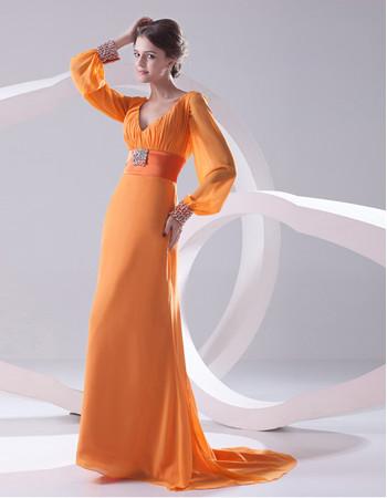 Elegant V-Neck Long Sleeves Long Chiffon Prom Evening Dress for Women