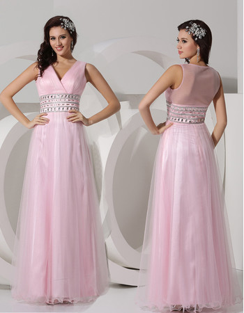 Designer A-Line V-Neck Floor Length Organza Evening Prom Dress for Women