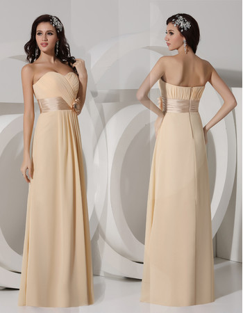 Elegant Sheath Sweetheart Long Chiffon Evening Prom Dress for Women