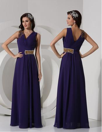 Classy Sheath V-Neck Long Chiffon Purple Prom Evening Dress for Women