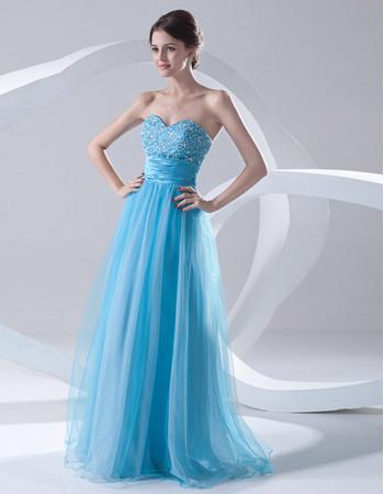 Cheap A-Line Sweetheart Long Light Blue Organza Evening Prom Dress
