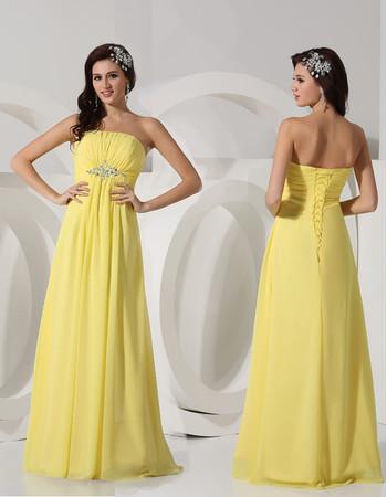 Elegant Strapless Long Chiffon Yellow Prom Evening Dress for Women