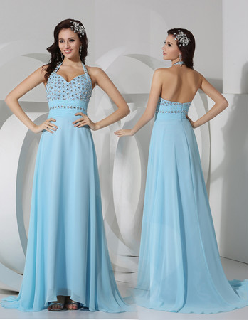 Sheath Halter Long Light Blue Chiffon Evening Prom Dress for Women