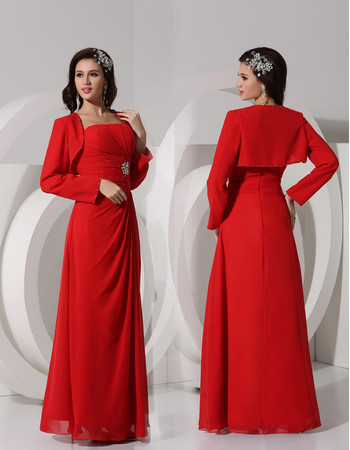 Designer Strapless Long Red Chiffon Evening Prom Dress with Jackets