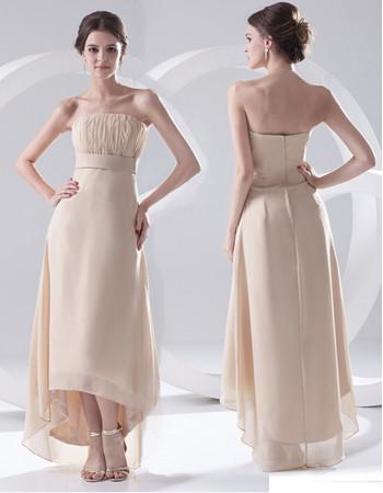 Designer Sheath Strapless Asymmetric Chiffon Prom Evening Dress