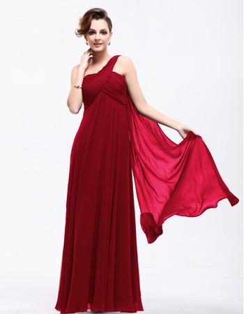 Best Elegant Empire Waist One Shoulder Chiffon Long Prom Evening Dress for Sale