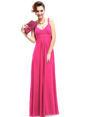 Cheap Classy Empire Waist Straps Long Satin Prom Evening Dress for Sale