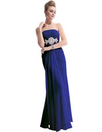 Custom Women's Sheath Strapless Floor Length Chiffon Prom Evening Dress for Sale