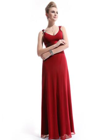 Custom Women's Chiffon Sheath V-Neck Long Prom Evening Dress for Sale
