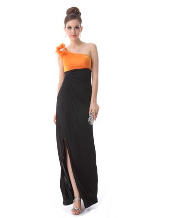 Women's Sexy One Shoulder Sheath Long Chiffon Prom Evening Dress for Sale