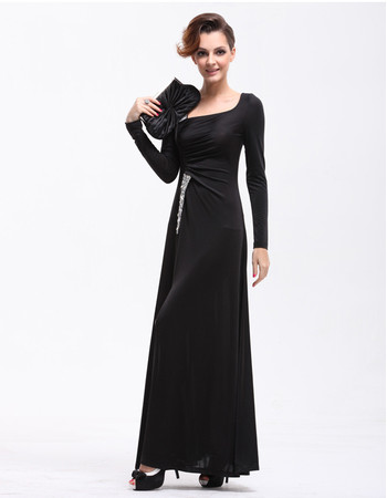 Women's Designer Long Sleeves Sheath Long Black Satin Prom Evening Dress for Sale