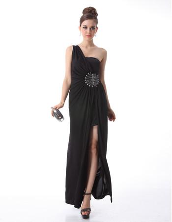 Cheap Classy Women's One Shoulder Sheath Chiffon Black Prom Evening Dress for Sale