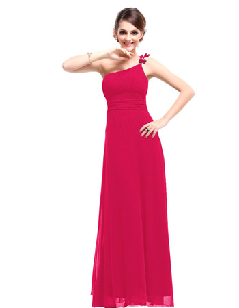 Women's Designer One Shoulder Chiffon Sheath Floor Length Prom Evening Dress for Sale