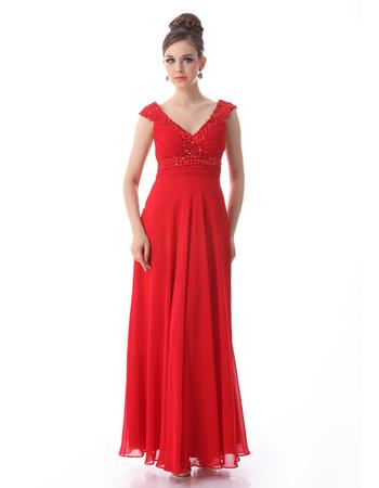 Cheap Women's Designer Custom V-Neck Chiffon Ankle Length Prom Evening Dress for Sale