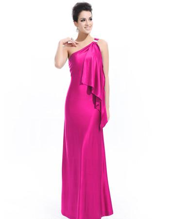 Women's One Shoulder Sheath/ Column Satin Long Prom Evening Dress for Sale