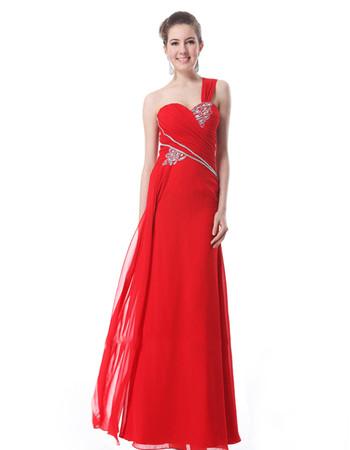 Women's Custom One Shoulder Chiffon Sheath Floor Length Prom Evening Dress for Sale