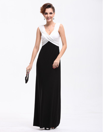 Women's Affordable Black and White V-Neck Sheath Satin Long Prom Evening Dress for Sale