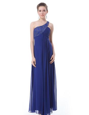 Custom One Shoulder Chiffon Floor Length Sheath Prom Evening Dress for Sale