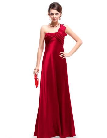 Women's Elegant One Shoulder Satin Sheath Floor Length Prom Evening Dress for Sale