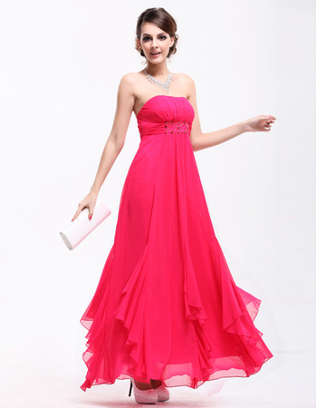 Women's A-Line Strapless Chiffon Ankle Length Prom Evening Dress for Sale