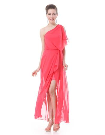 Custom Women's One Shoulder Split Chiffon Ankle Length Prom Evening Dress for Sale