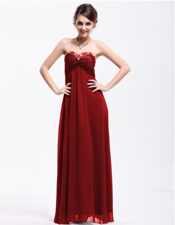 Beautiful Empire Waist Sweetheart Chiffon Long Prom Evening Dress for Women