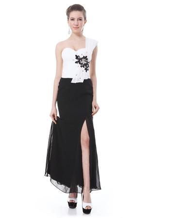 Cheap Custom Designer One Shoulder Split Maxi White and Black Prom Evening Dress for Women