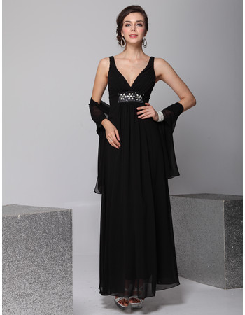 Cheap Custom Designer V-Neck Chiffon Ankle Length Sheath Evening/ Prom Dress for Women
