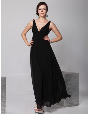 Cheap Designer V-Neck Black Chiffon Ankle Length Sheath Evening Wear Dress for Women