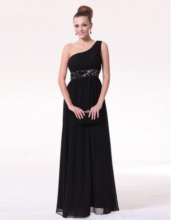 Cheap Classy Sheath One Shoulder Black Chiffon Long Formal Evening Prom Dress for Women
