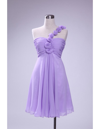 Custom Simple Empire Waist A-Line One Shoulder Short Chiffon Bridesmaid Dress