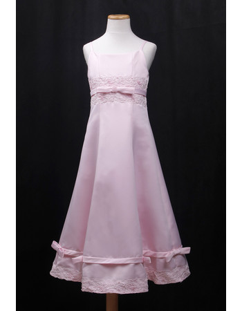 Custom A-Line Spaghetti Straps Long Satin Little Girls Party Dress