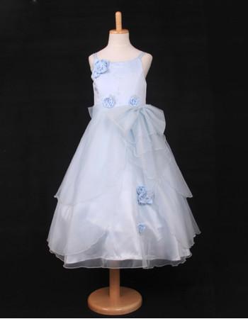 Cheap A-Line Spaghetti Straps Tea Length Little Girls Party Dress