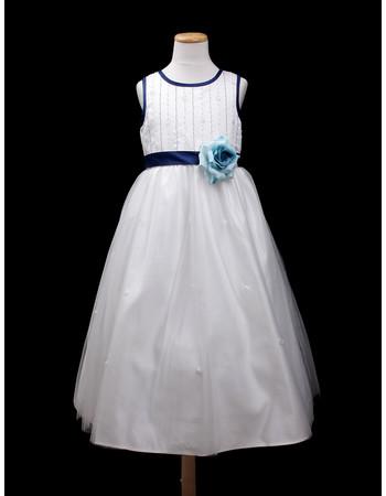 Custom A-Line Round Tea Length Satin Little Girls Party Dress