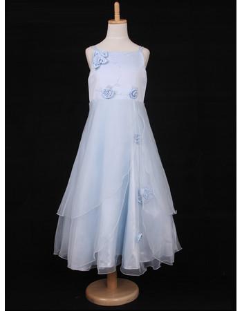 A-Line Spaghetti Straps Tea Length Organza Little Girls Party Dress