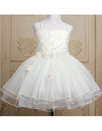 Princess Ball Gown Knee Length Organza Little Girls Party Dress