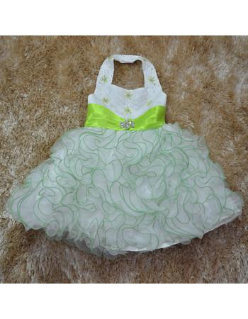 Custom Ball Gown Halter Tea Length Ruffle Little Girl Party Dress