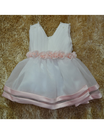 Adorable Ball Gown V-Neck Knee Length Little Girl Party Dress