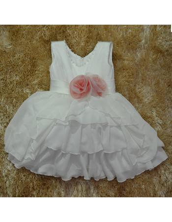 Custom Ball Gown Knee Length Chiffon Little Girls Party Dress