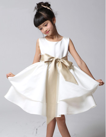 Little Girls A-Line Knee Length Satin Flower Girl Pageant/ Party Dress