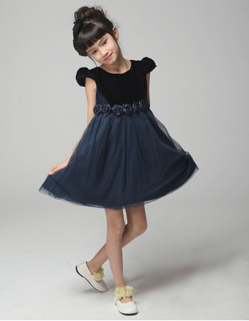 A-Line Round/ Scoop Short Satin Blue Flower Girl Pageant/ Party Dress