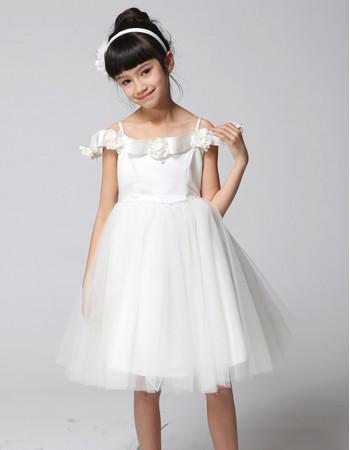 Princess A-Line Spaghetti Straps Knee Length Flower Girls Dress for Wedding