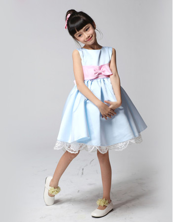 Discount A-Line Knee Length Satin Little Girls Pageant/ Party Dress